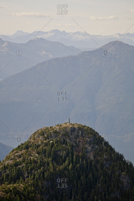 Distant view of radio tower on top of mountain, Coast Mountains, Vancouver, British Columbia, Canada