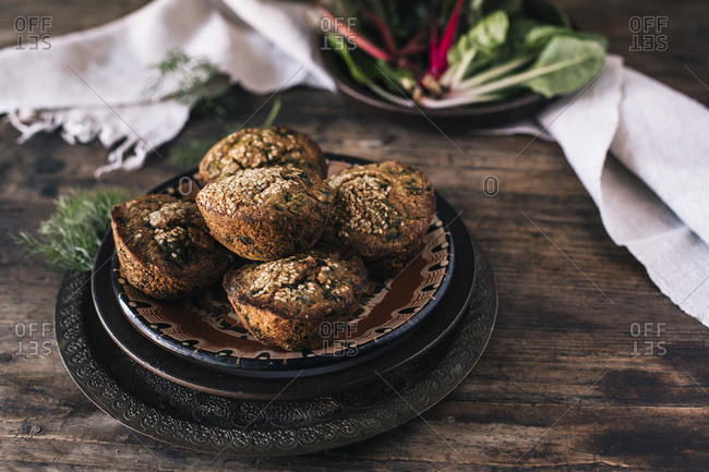CORN MUFFINS BREAD WITH LEAF OF CHARD