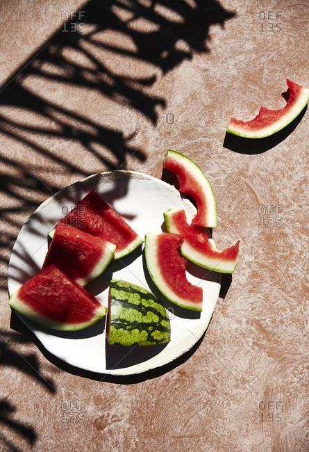Freshly cut watermelon