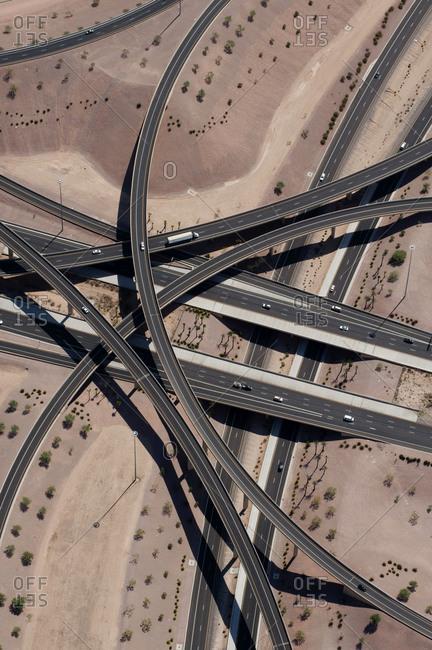 A highway overpass in the desert near Phoenix.