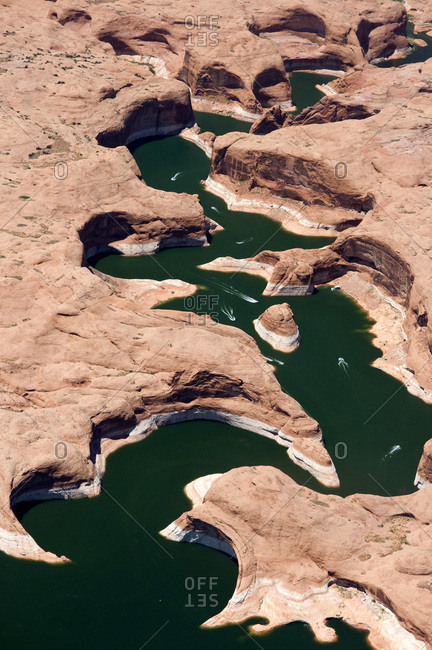 Aerial view of boats in the remote Escalante River Canyon.