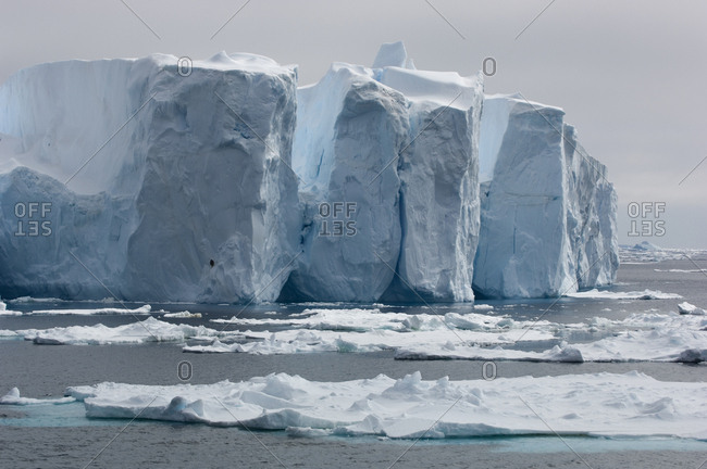 Tabular icebergs in the Antarctic Ocean.