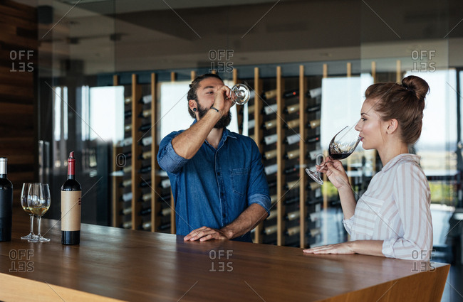 Handsome Caucasian man and pretty woman tasting wine at wine bar