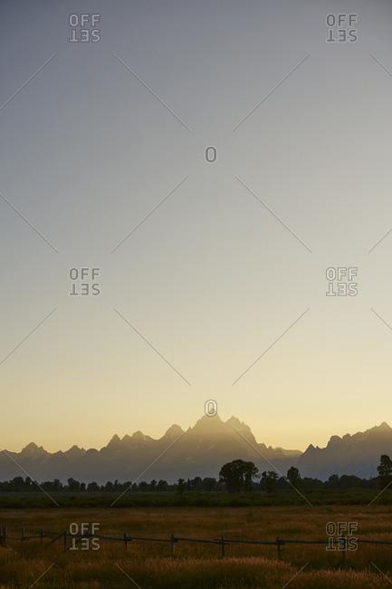 Grand Teton National Park at golden hour, Wyoming