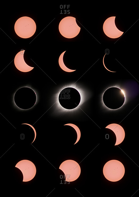 Solar eclipse phases in the night sky