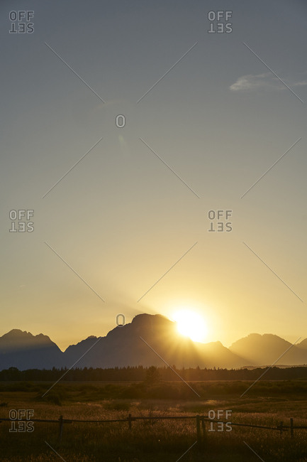 Silhouetted peaks of the Teton Range, Grand Teton National Park, Wyoming