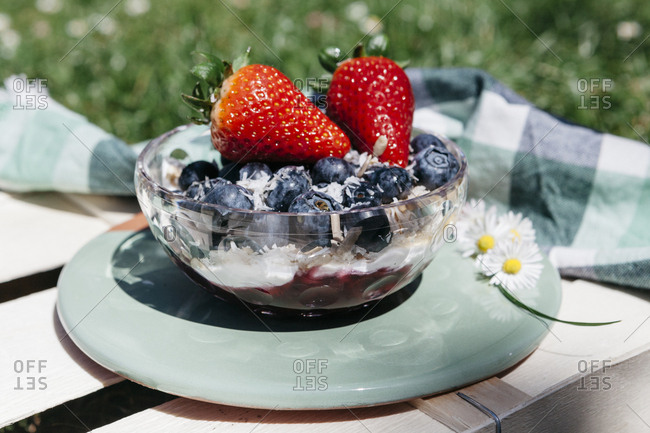 Blended smoothie bowl topped with blueberries, strawberries, and shredded coconut