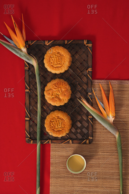 Vietnamese traditional Moon cake for Mid autumn festival, retro vintage style of food and dessert