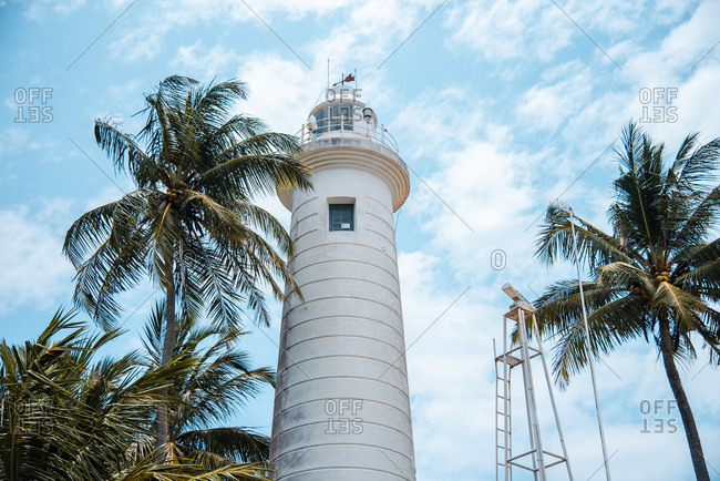 Lighthouse and palm trees on tropical beach in Sri Lanka