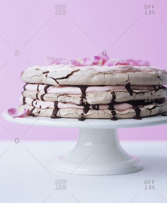 Chocolate meringue cake with rose Chantilly cream