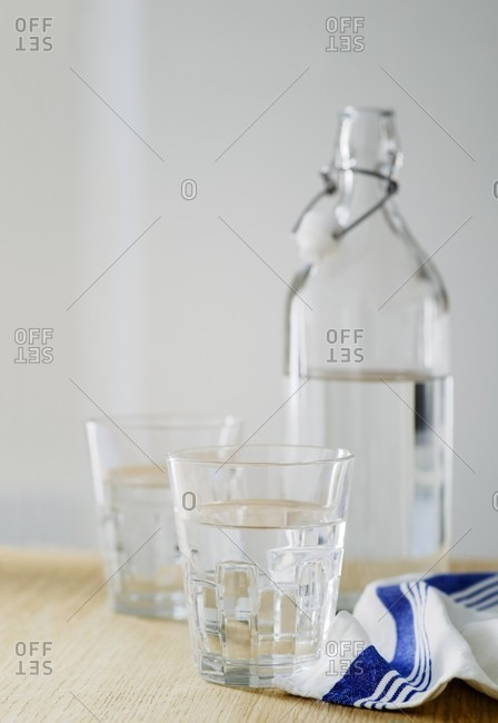 Water glasses and water bottle