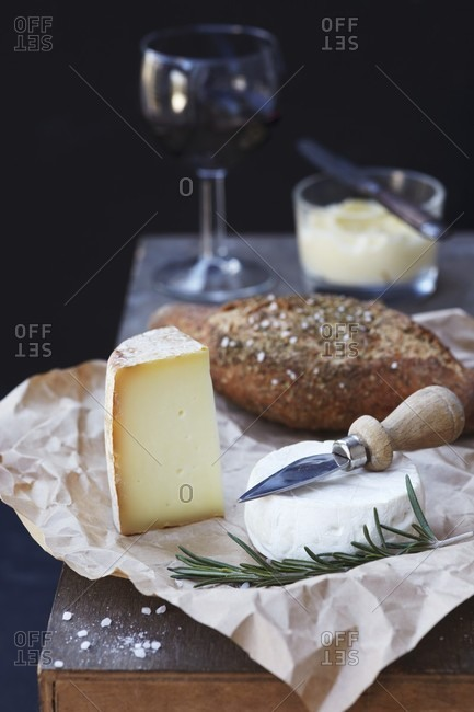 A selection of cheese with bread and butter