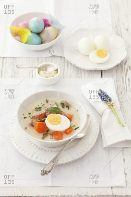 Easter soup with egg