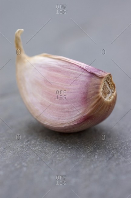 A garlic clove on a slate surface (close-up)