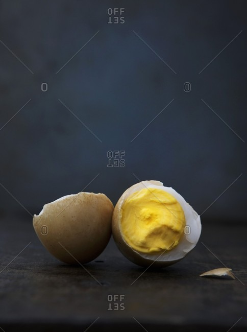 Boiled Duck Egg Broken in Half