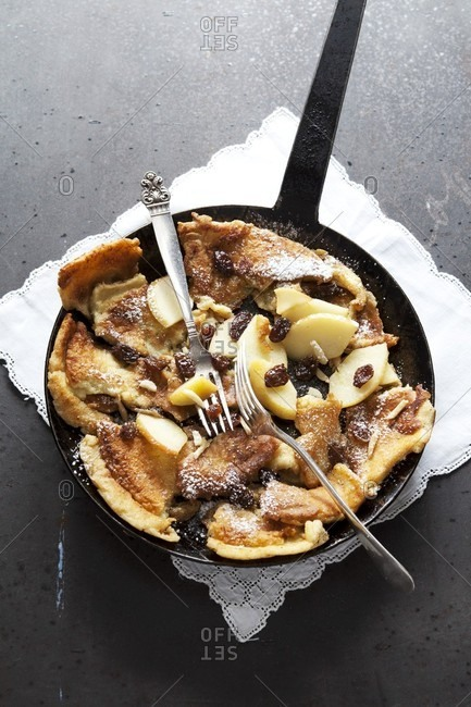 Caramelised shredded apple pancakes