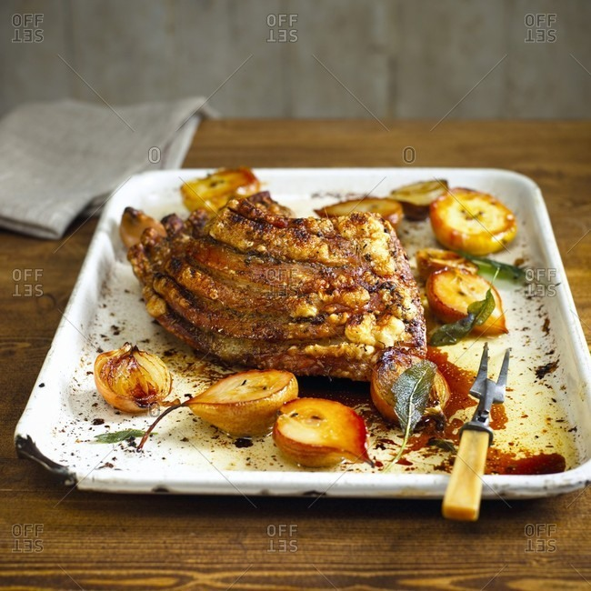 Crispy roasted pork belly with pears