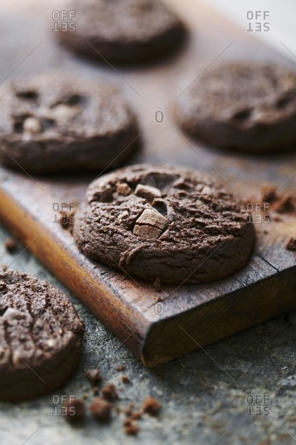 Chocolate cookies on a wooden board