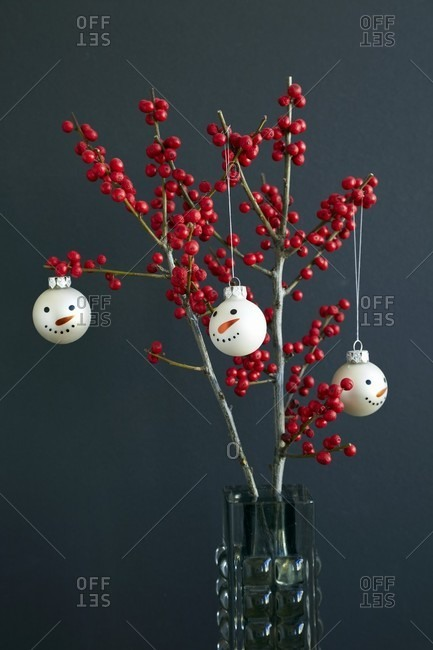 Christmas tree baubles with snowman's faces hanging on branches of red holly berries (ilex)