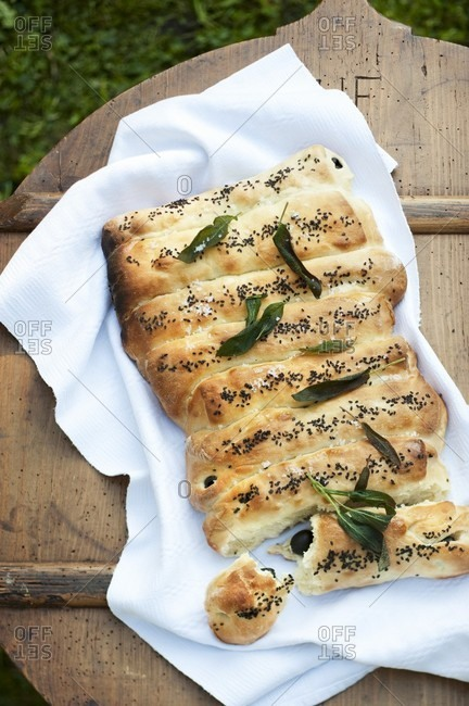 Olive bread with poppy seeds