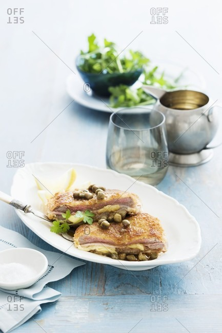 Stuffed veal schnitzel with capers