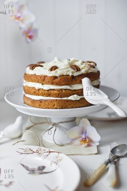Hummingbird cake on a cake stand with a napkin, an orchid flowers, a ceramic birds decorations, plates and cutlery.