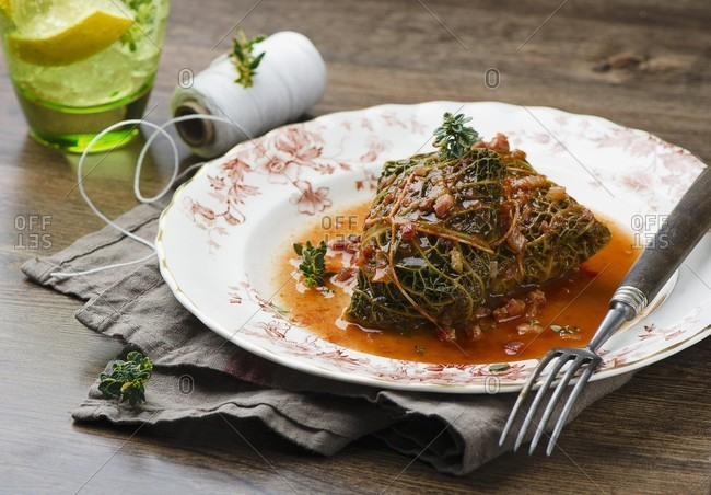Savoy cabbage parcel filled with minced meat