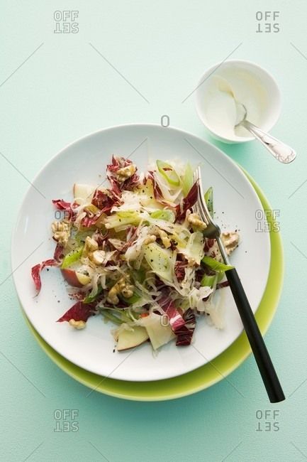 Sauerkraut salad with apple and walnuts