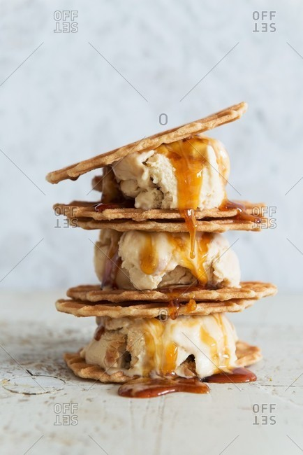 Caramel ice cream sandwiches