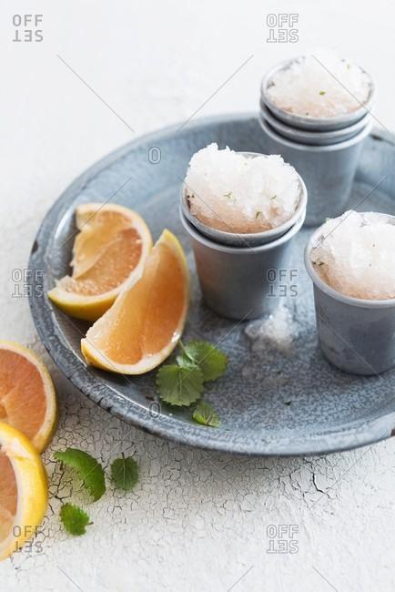 Vodka granita with grapefruit