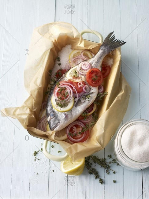Seabream in a salt crust ready to fry