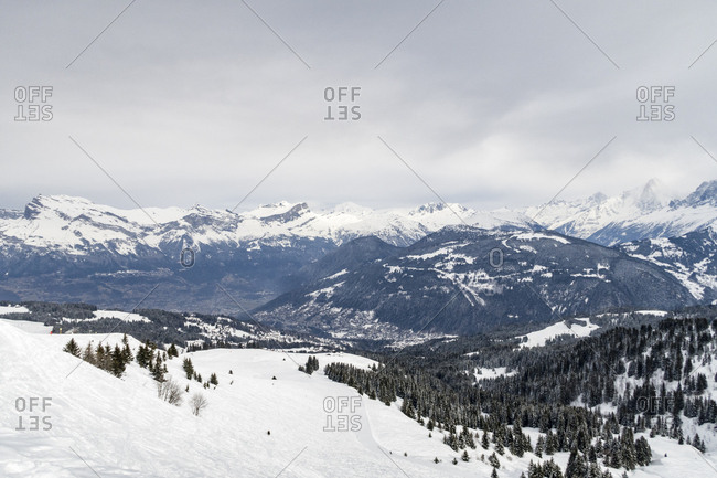 Snow-covered mountains in the French Alps