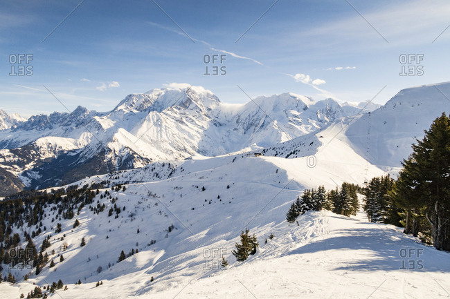 Snow covered mountains in the Northern Alps
