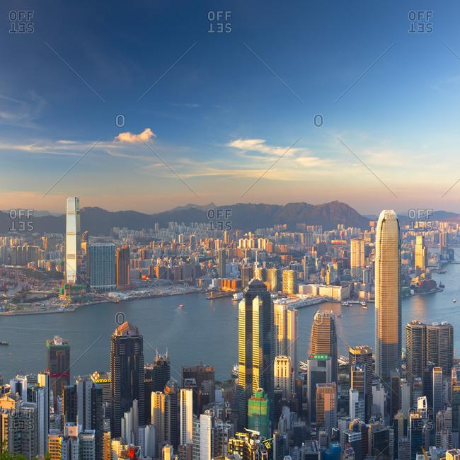 Hong Kong, China - May 20, 2018: Skyline of Hong Kong Island and Kowloon from Victoria Peak