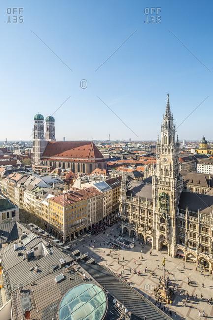 Munich, Bavaria, Germany - April 18, 2018: Rathaus (Town Hall), Marienplatz