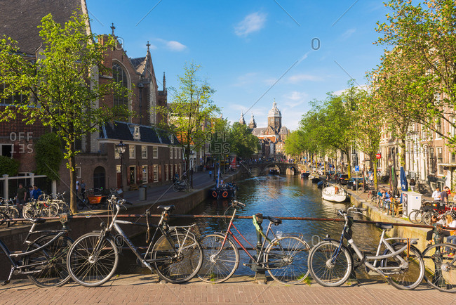 Amsterdam, Holland, The Netherlands - May 31, 2017: Church of St Nicholas down the Voorburgwal canal