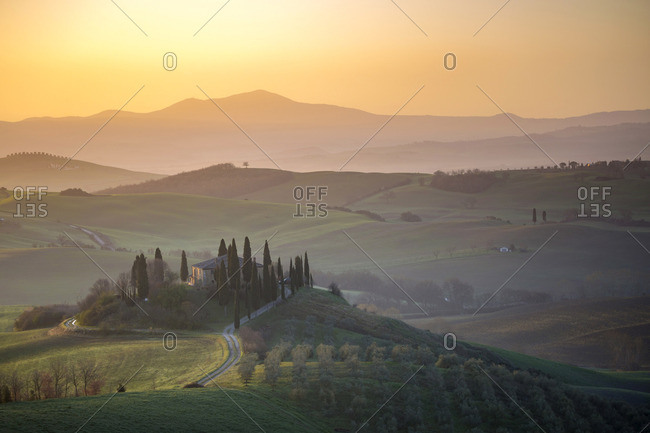 Tuscany, Italy - April 2, 2018: Belvedere at sunrise, San Quirico, Val d'Orcia
