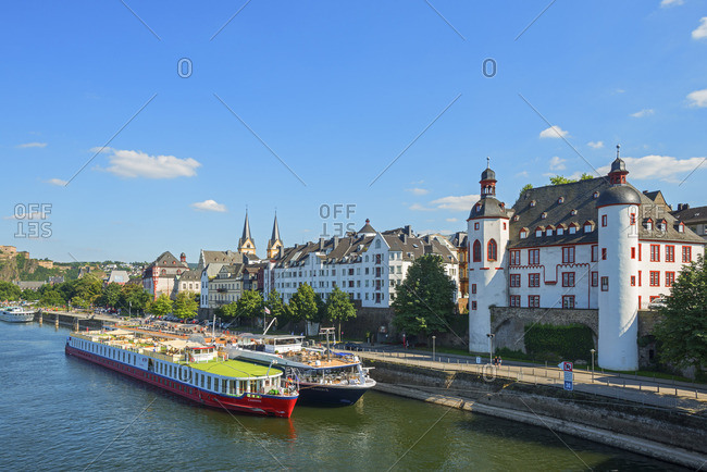 Rhineland-Palatinate, Germany - August 17, 2016: River Mosel with Alte Burg, Koblenz