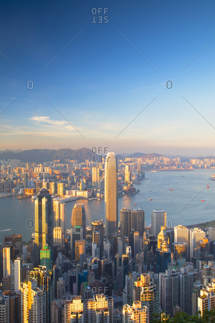 Hong Kong, China - May 20, 2018: Skyline of Hong Kong Island and Kowloon from Victoria Peak, Hong Kong Island