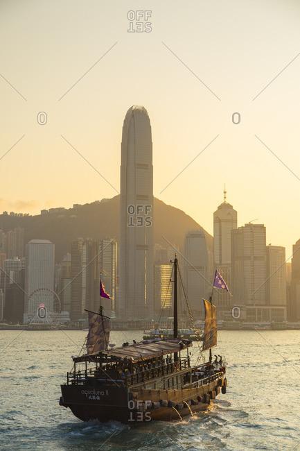 Hong Kong, China - March 11, 2018: Junk boat in Victoria Harbour, Hong Kong Island