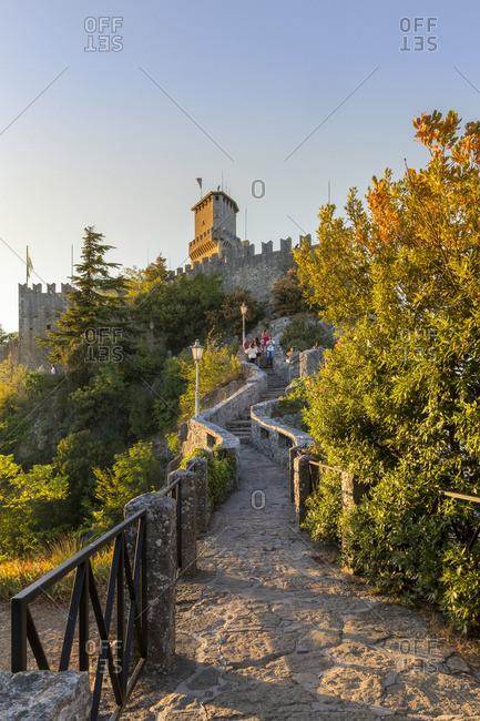 San Marino, Italy - August 12, 2017: Torre Guaita, Pirma Torre, La Rocca