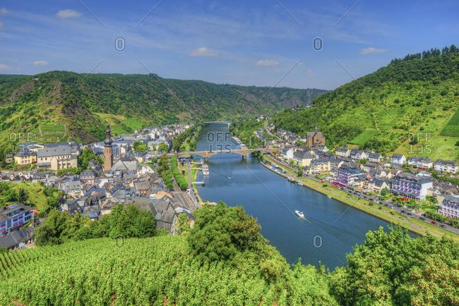 Rhineland-Palatinate, Germany - August 15, 2016: Cochem seen from Reichsburg