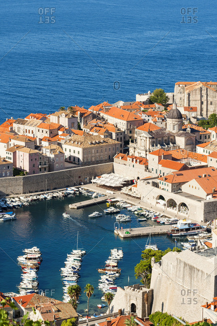 Dubrovnik, Croatia - July 27, 2017: Old town harbour from Srdj