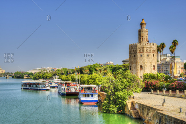 Sevilla, Andalucia, Spain - September 5, 2016: Torre del Oro and Rio Guadelquivir