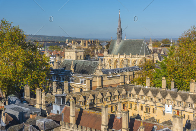 Oxford, England - October 27, 2017: Oxfordshire, Oxford, University of Oxford, Brasenose College and Exeter College beyond