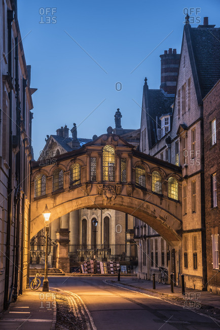 Oxford, England - October 27, 2017: Oxfordshire, Oxford, New College Lane, Hertford College, Bridge of Sighs of Hertford Bridge