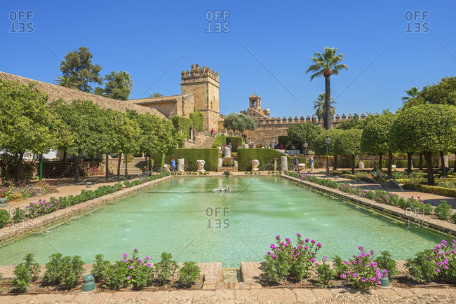 Cordoba, Andalucia, Spain - September 9, 2016: Gardens of the Alcazar of the Crhistian Kings (Alcazar de los Reyes Cristianos)