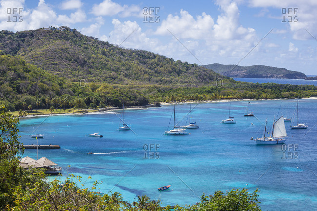 Mustique, St. Vincent and the Grenadines - February 26, 2018: View of Brittania Bay