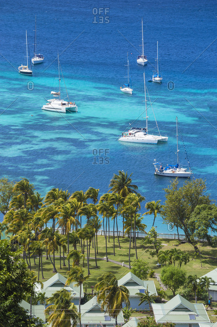 Bequia, St. Vincent and the Grenadines - February 25, 2018: View over hotel to Admiralty Bay