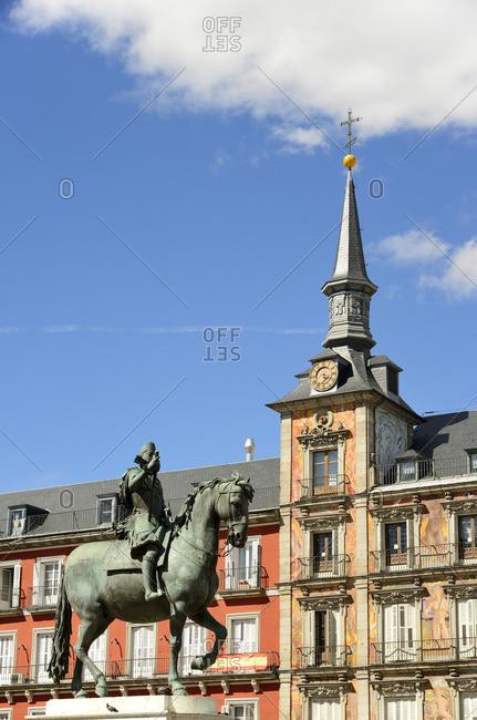 Madrid, Spain - March 26, 2018: The equestrian statue of King Felipe III (Philip III of Spain), Plaza Mayor